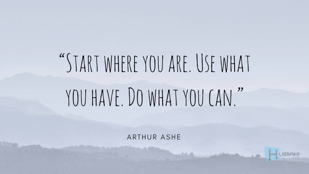 "Sales Motivational Quote: ""Start where you are. Use what you have. Do what you can."" — Arthur Ashe."
